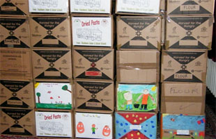 Decorated boxes in Lom store